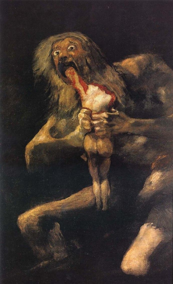 Saturno devorando a su hijo - Goya, 1819-1823